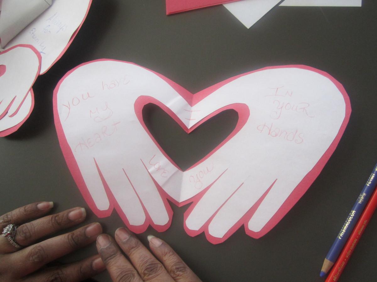 Hand valentine's day card