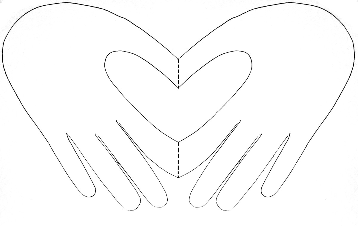 adult hand heart card