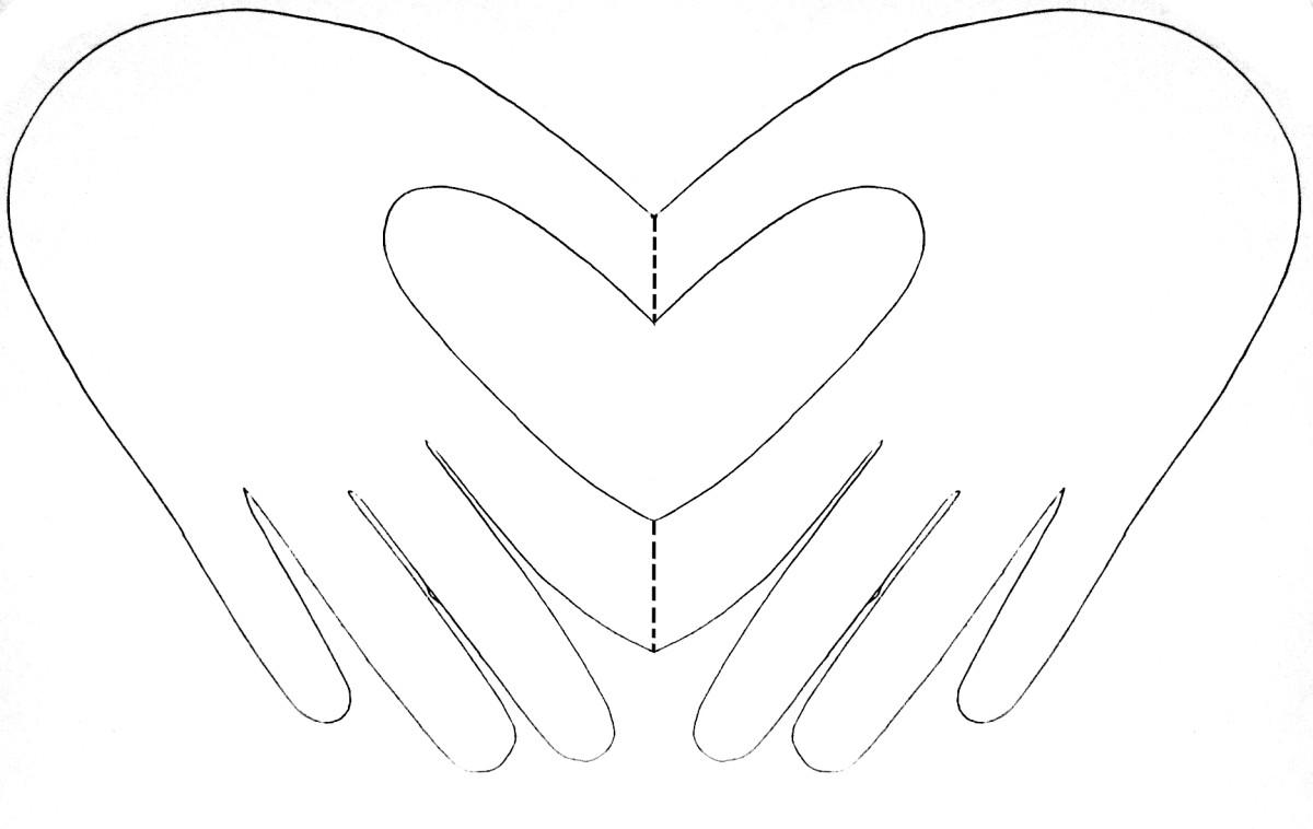 Adult hand heart card