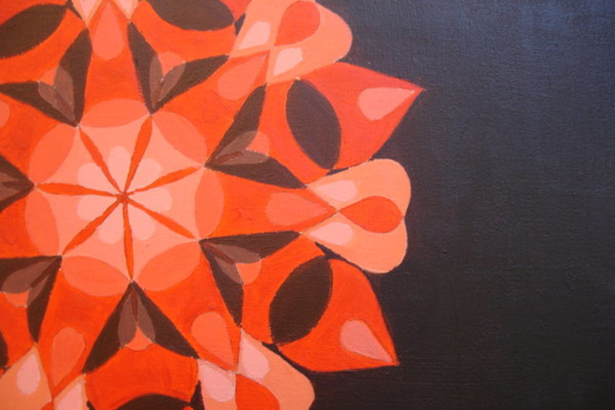 Overlap Mandala-like painting made with a large petal shape and a small petal shape.