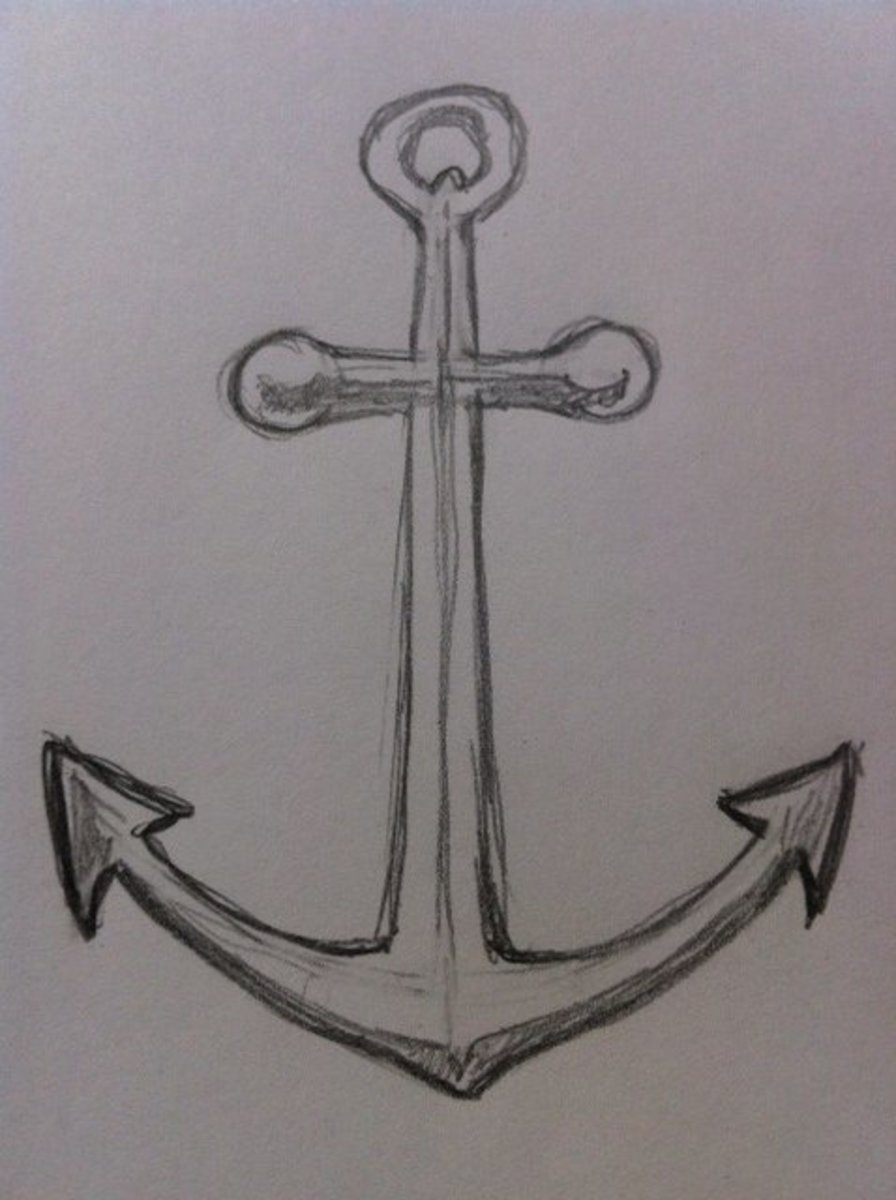 How to draw an anchor feltmagnet for Fun things to draw in pencil