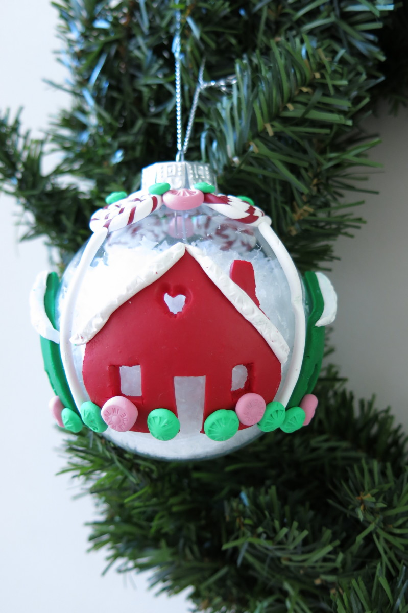 Finishing your clay gingerbread house tree ornament