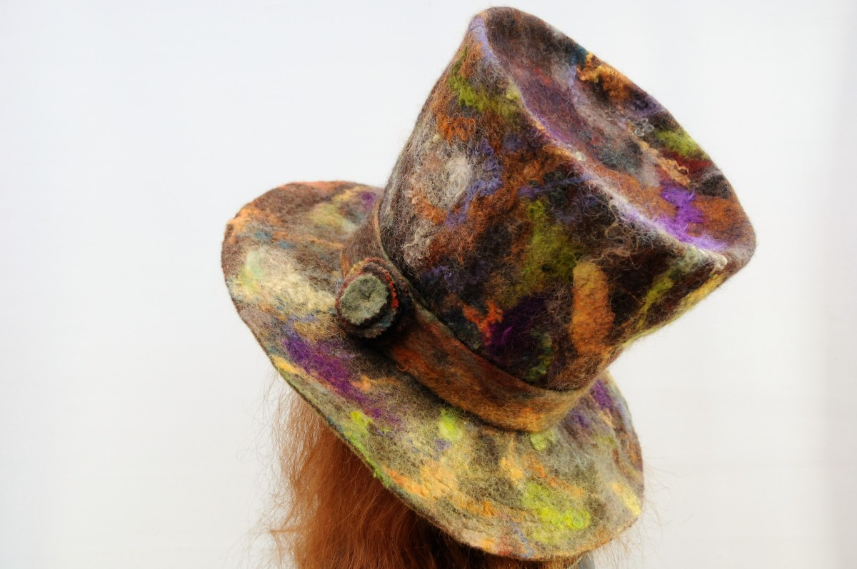 A side and back view of the wet felted top hat