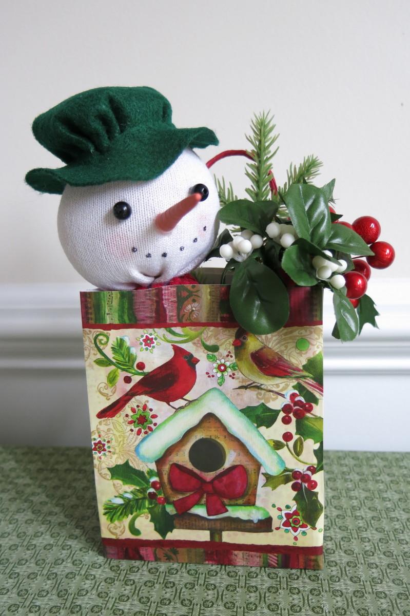 Putting Together Your Gift Bag Sock Snowman Arrangement
