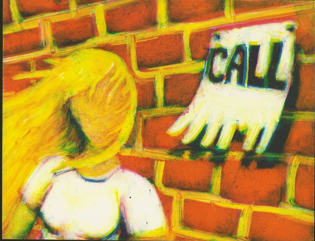 "This is one of my favorite monoprints that I have made because I like the play on words and how the t-shirt and bricks turned out. Making the word ""Call"" was hard because I had to carefully wipe away all of the little spaces around the letters"