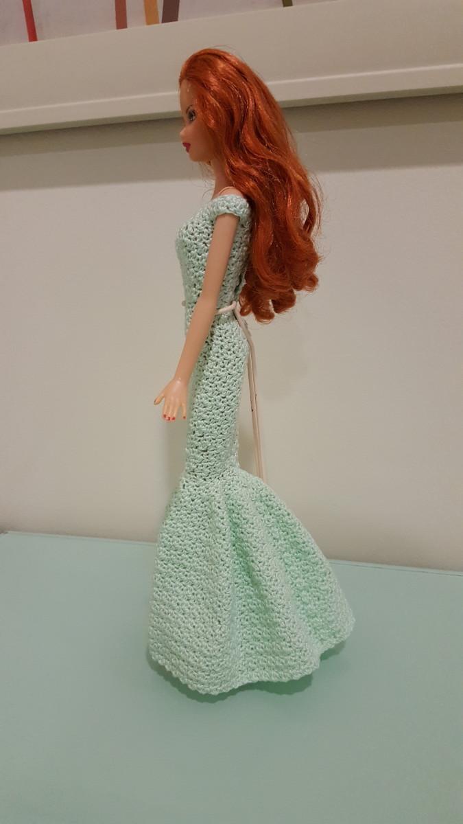 Barbie Off Shoulder Mermaid Gown (Side View)