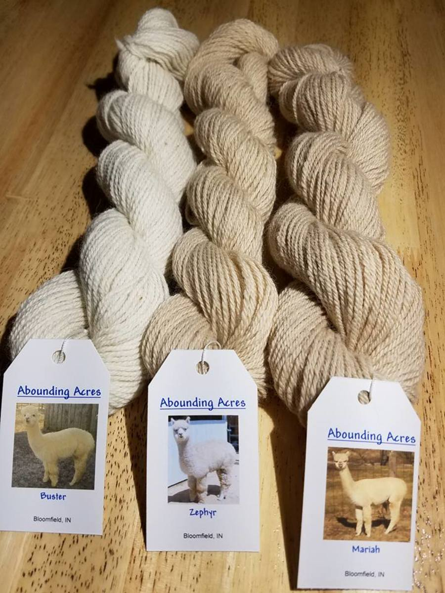 Subtle variances between white and beige alpaca yarn.
