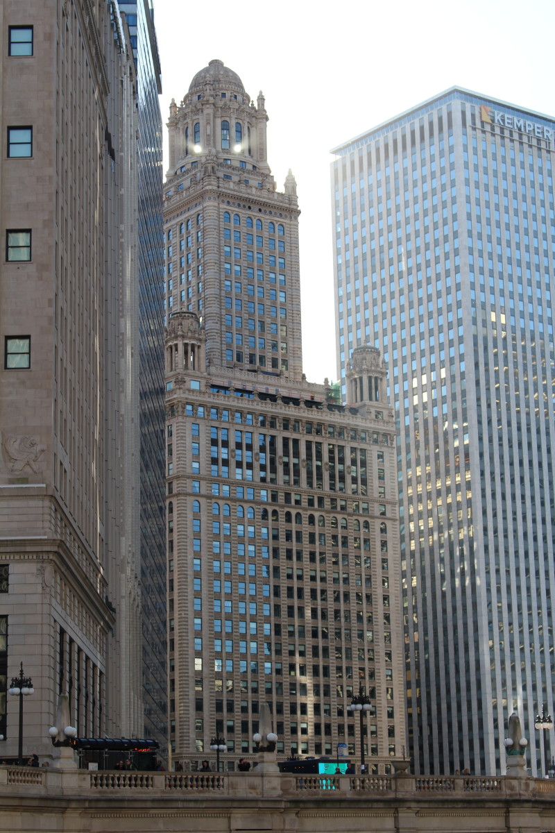 The Jeweler's Building, from across the Chicago River.