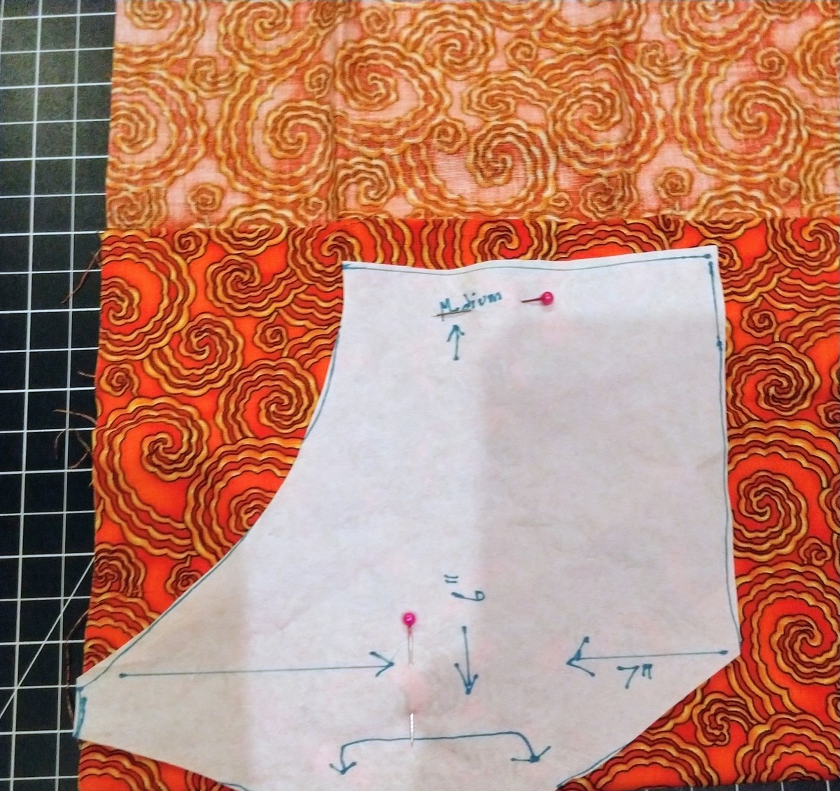 Pattern placed on folded material.