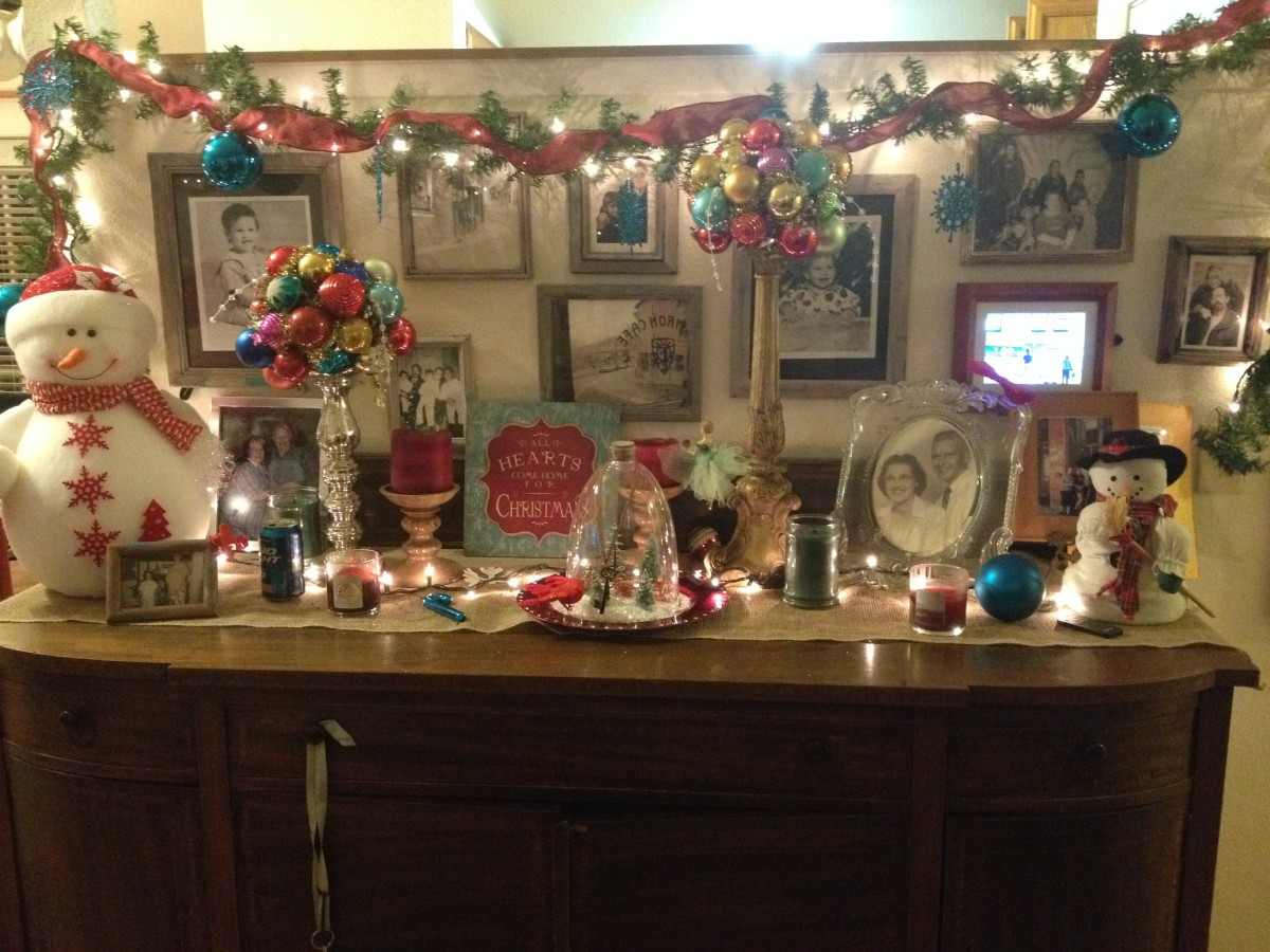 The buffet decorated for Christmas