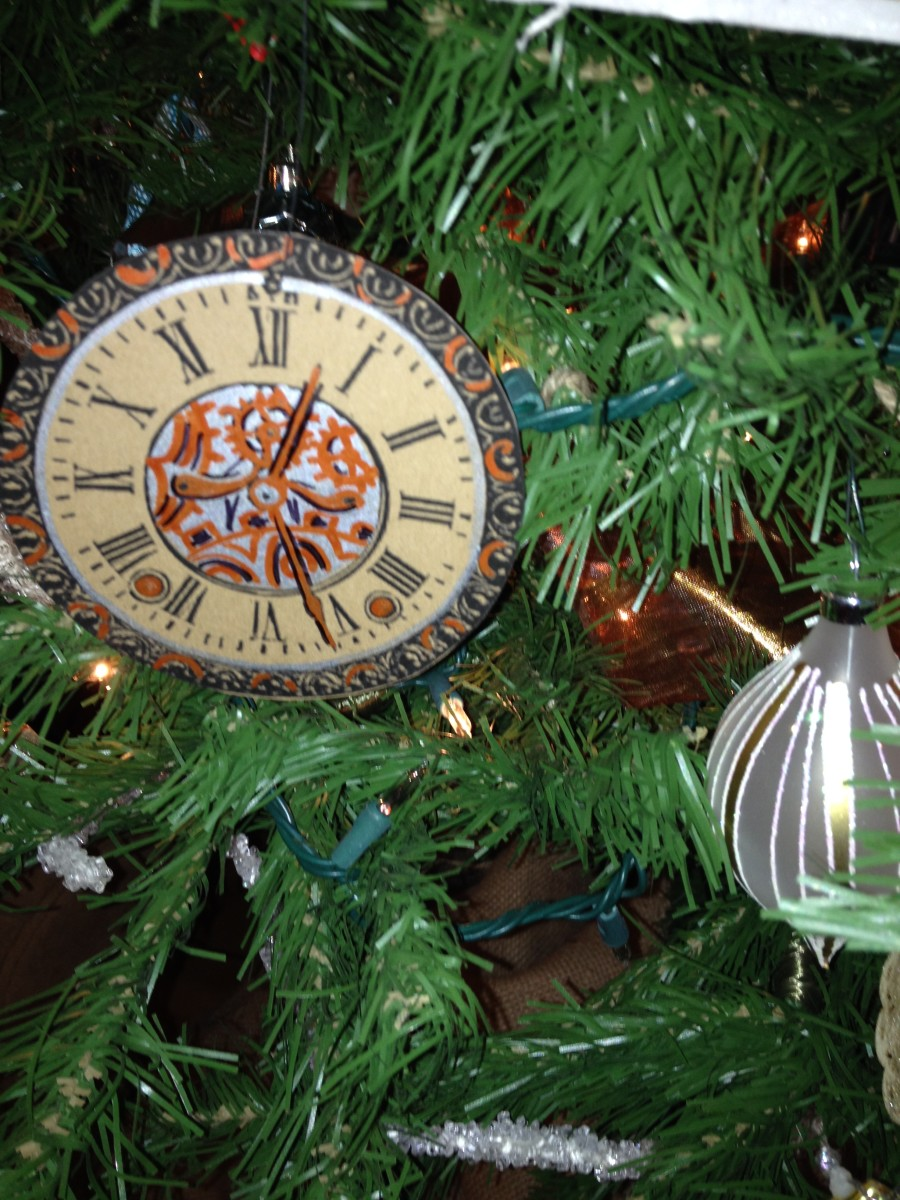 Steam punk clock ornament on the tree