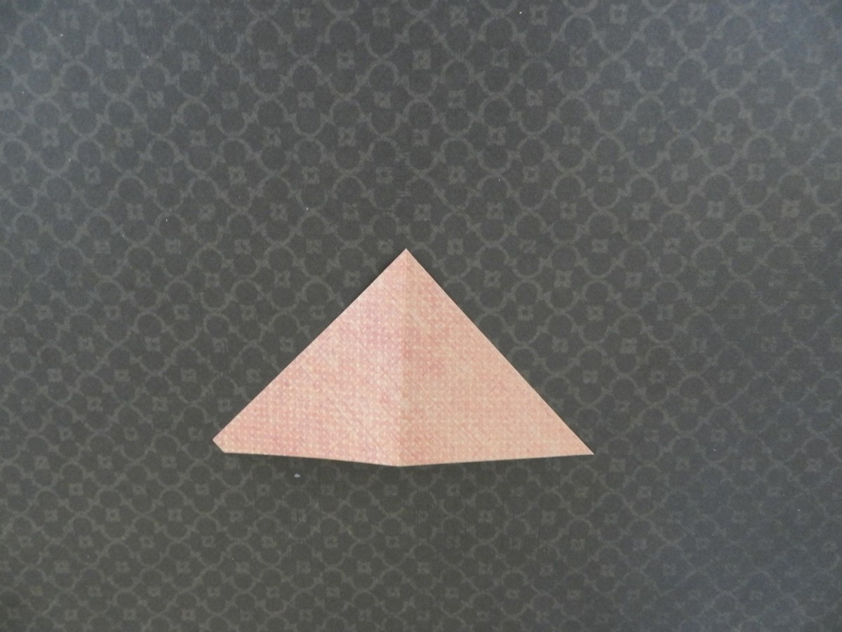 Cut a three inch square in half diagonally. Fold triangle in half at the point.
