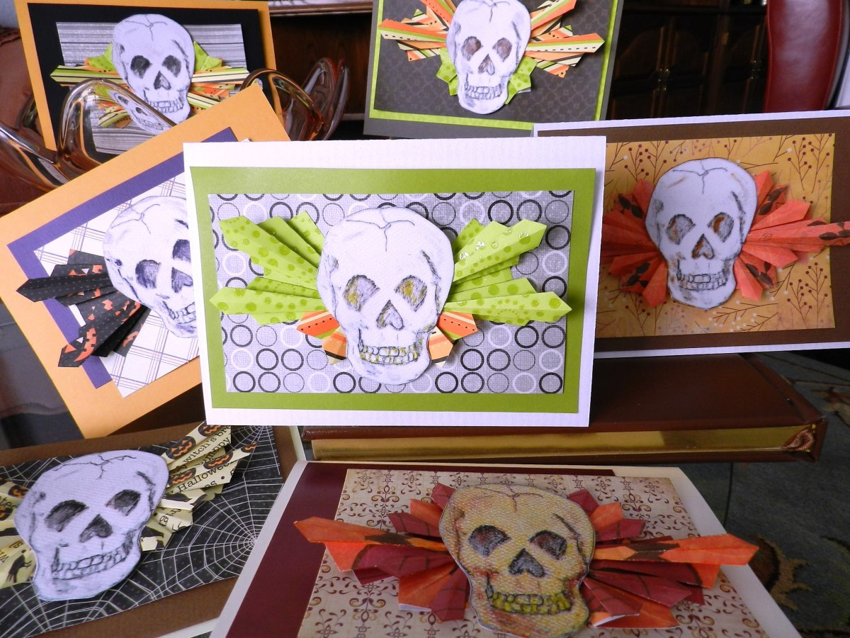 My first batch of skull greeting cards