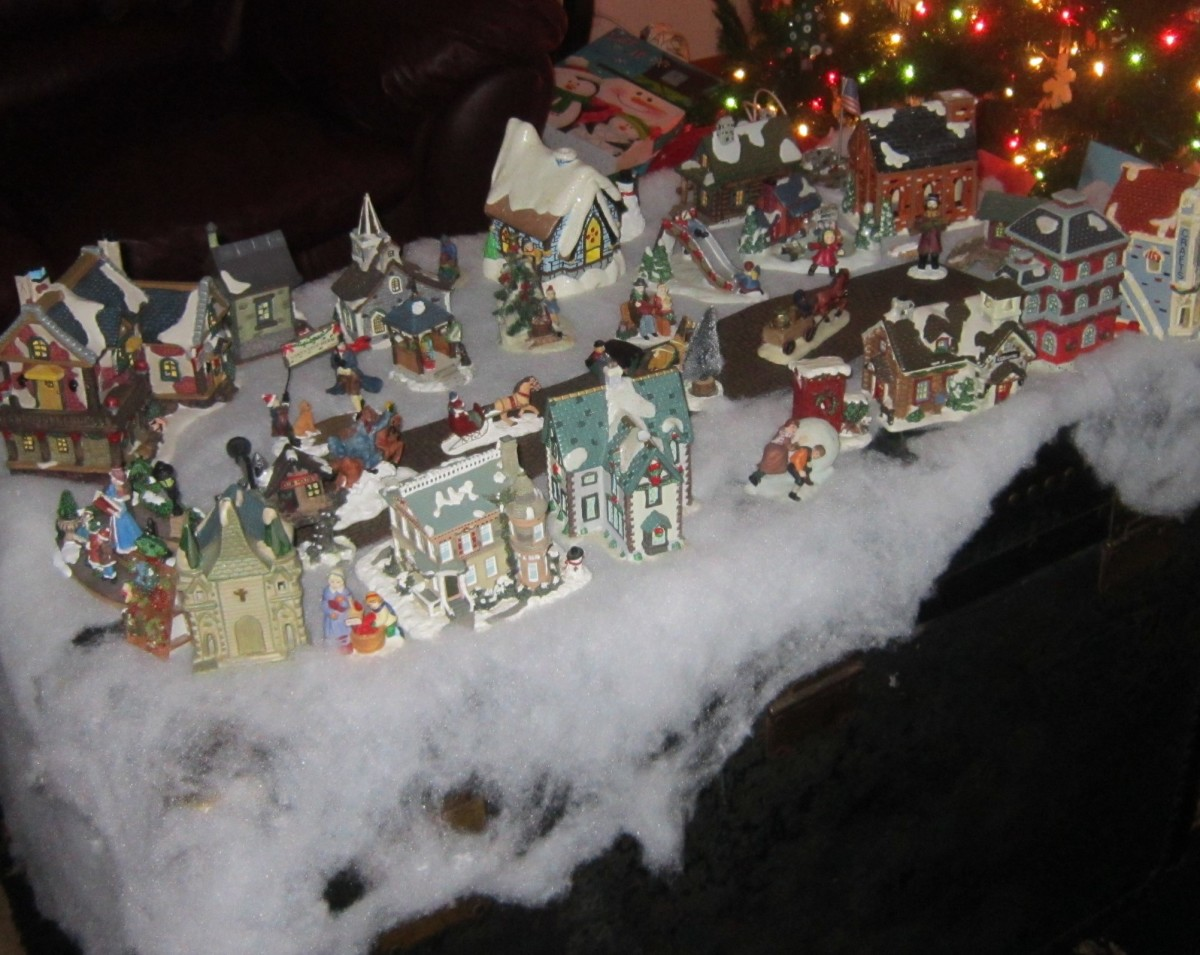 A collection of Christmas village pieces. No expensive Department 56 buildings here; just patience