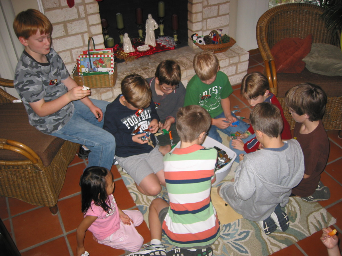 Lego Building Game. Easy party activity: let kids play with the theme toy.  An often repeated theme for my son is a Lego party: my son had lots of fun teaching his friends how to build.