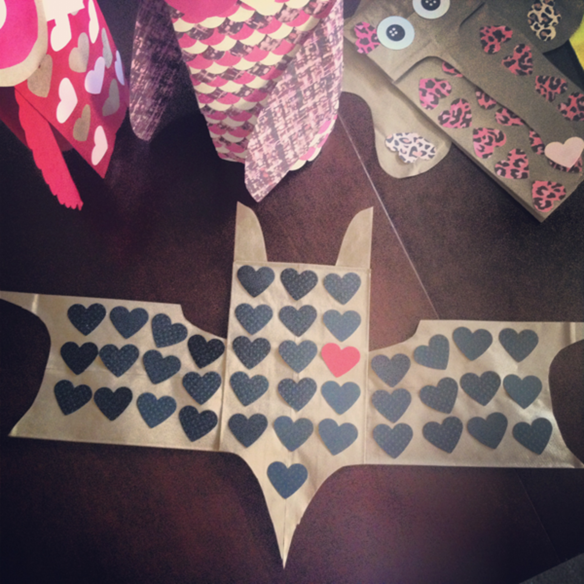 Batman valentine made by my husband using 3 bags-- 1 for body and 1 for each wing.