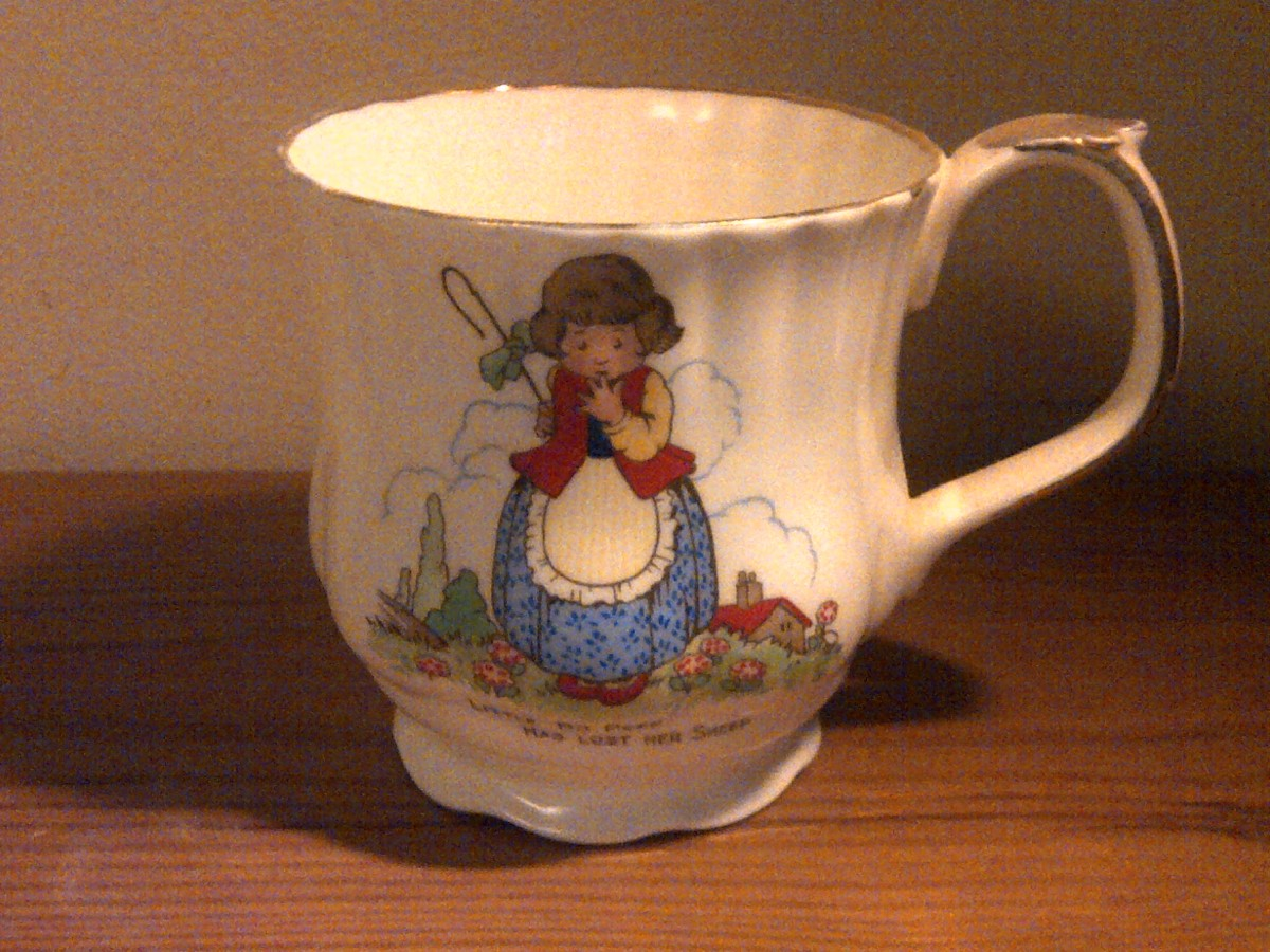 An exquisite little china cup - found in a charity shop - may be the perfect gift for someone who collects porcelain. This mug features a nursery rhyme theme and might also be ideal for a unique Christening gift!
