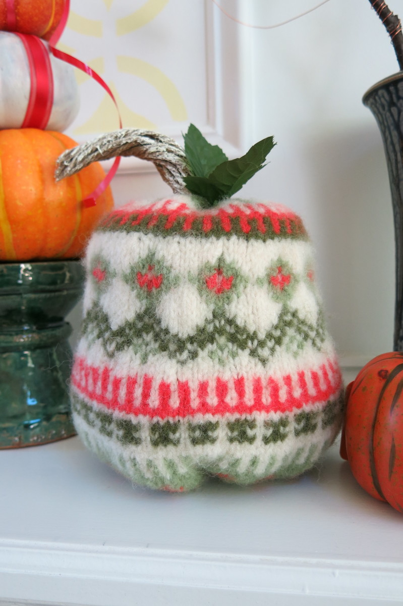 Turn an old wool sweater into a fun fall pumpkin.