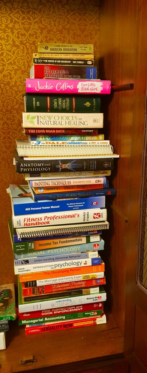 A small collection of college text books and other fascinating books.