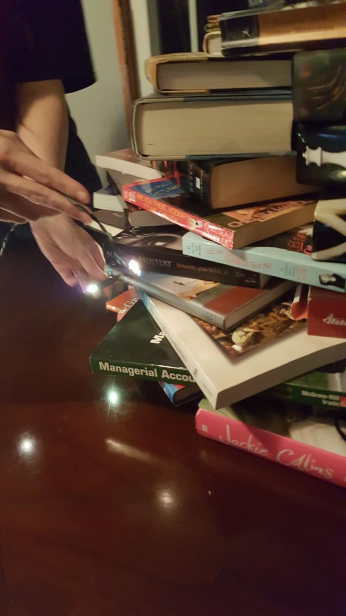 Stringing some blue-white lights around my book tree.