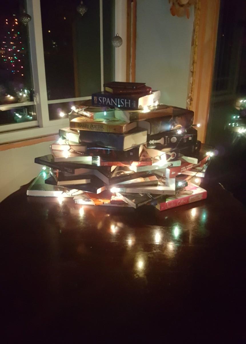 Lights around the tree.