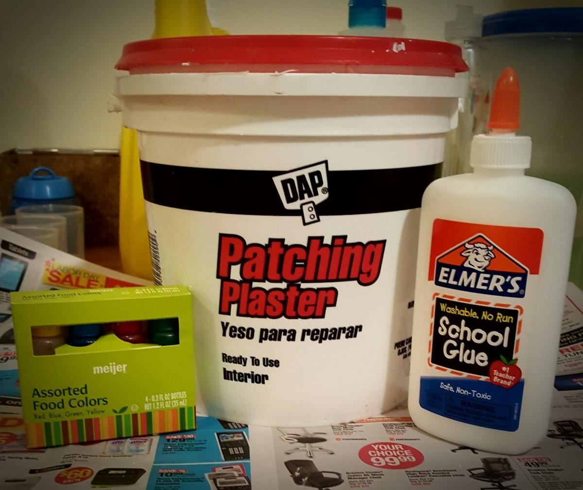 Plaster mixture ingredients.