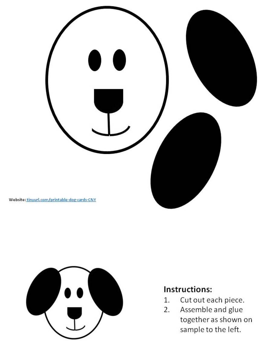 Oval Dog Pattern. Assemble and place in the center of your greeting card.