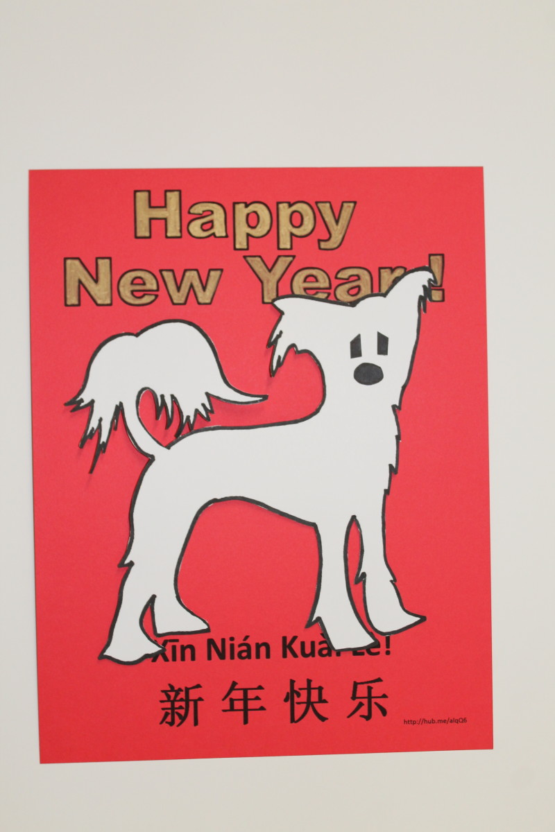 Sample Chinese Crested  Dog Full-Page Card. See template below for pattern for this dog.