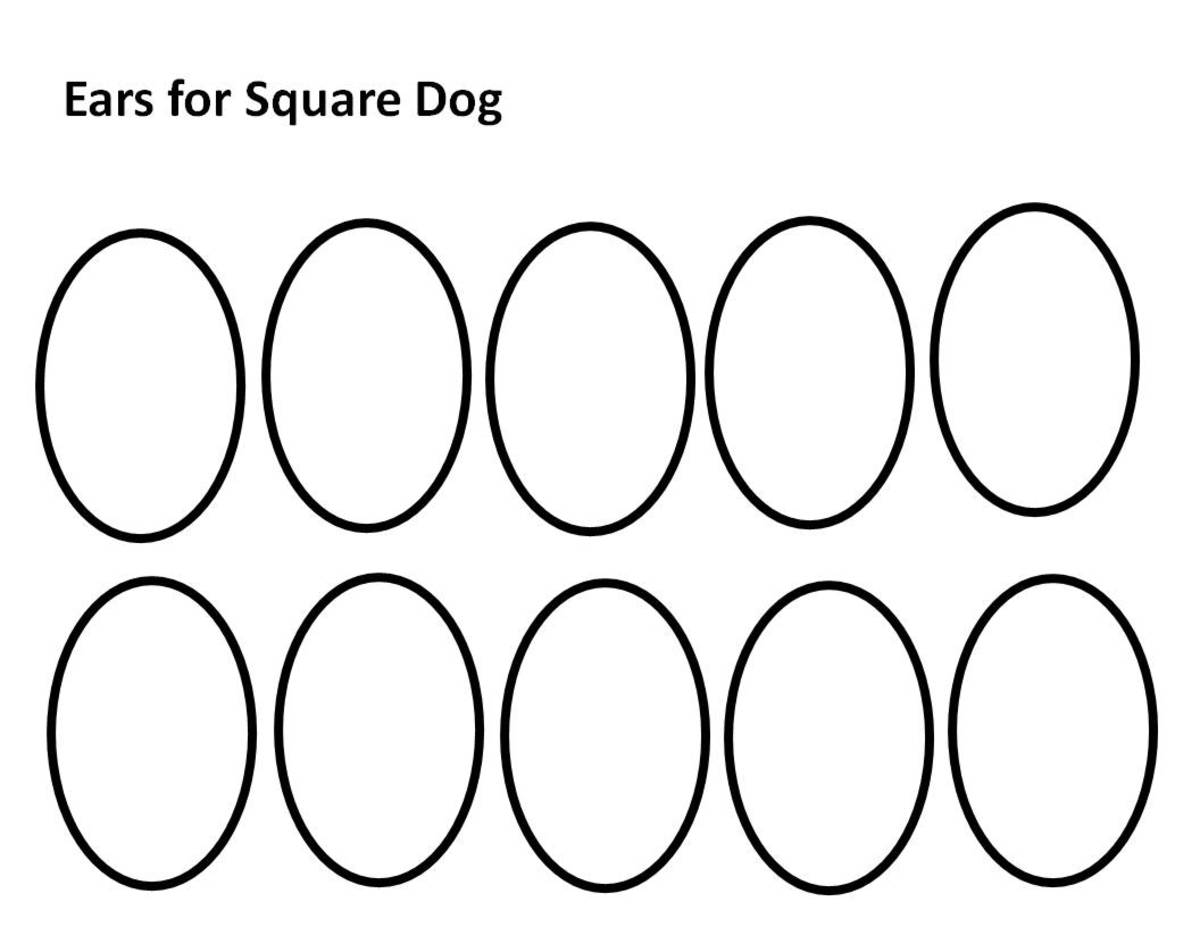 Pattern for ears.  Color in two ears, cut, and attach to head on Square Dog Pattern