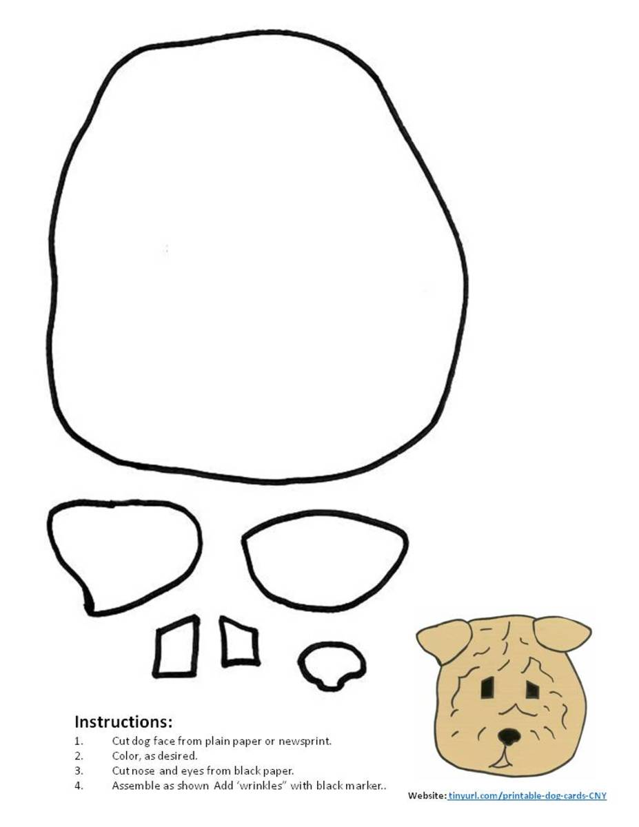 Shar-Pei Pattern. Assemble and place in the center of your greeting card.