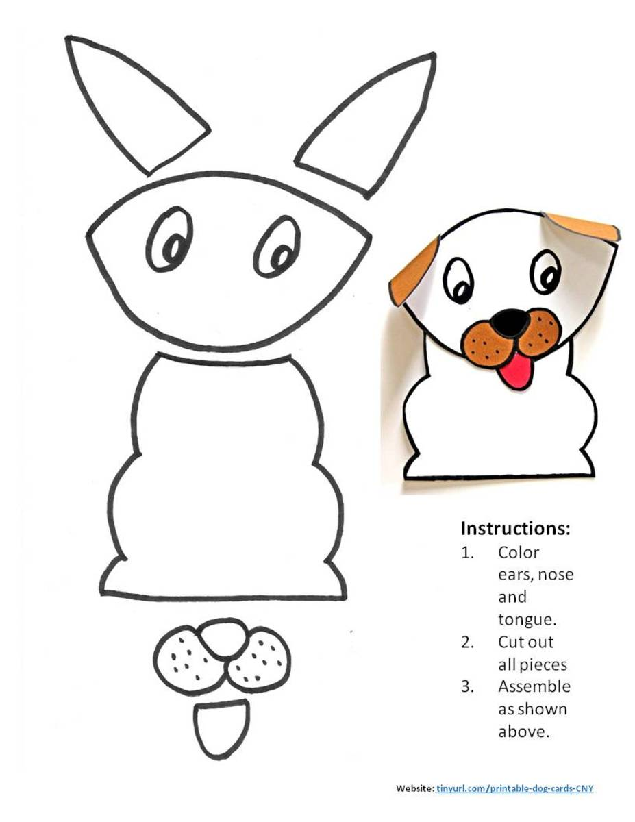 Printable pattern for Dog With Folded Ears.  Assemble and place in the center of your greeting card.