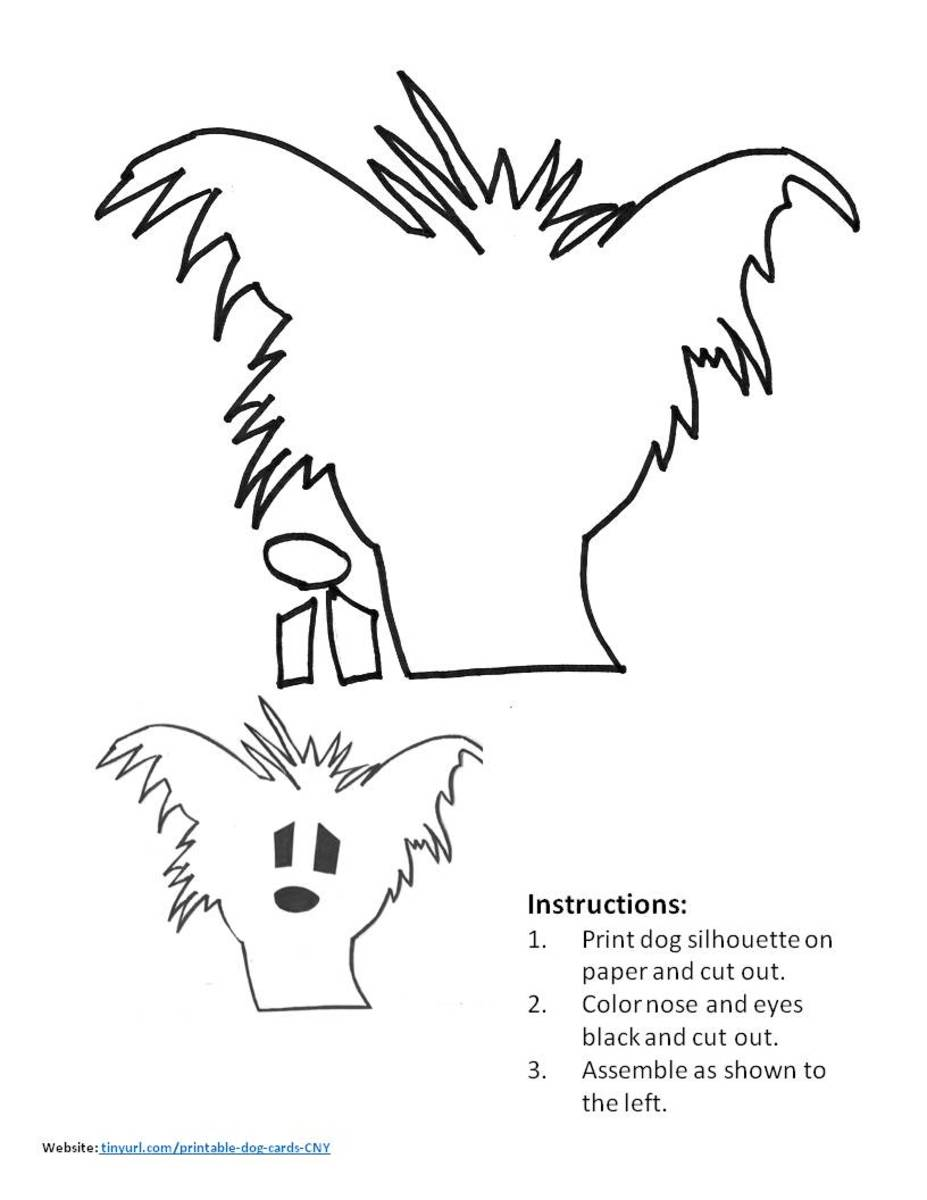 Chinese Crested Pattern. Assemble and place in the center of your greeting card.