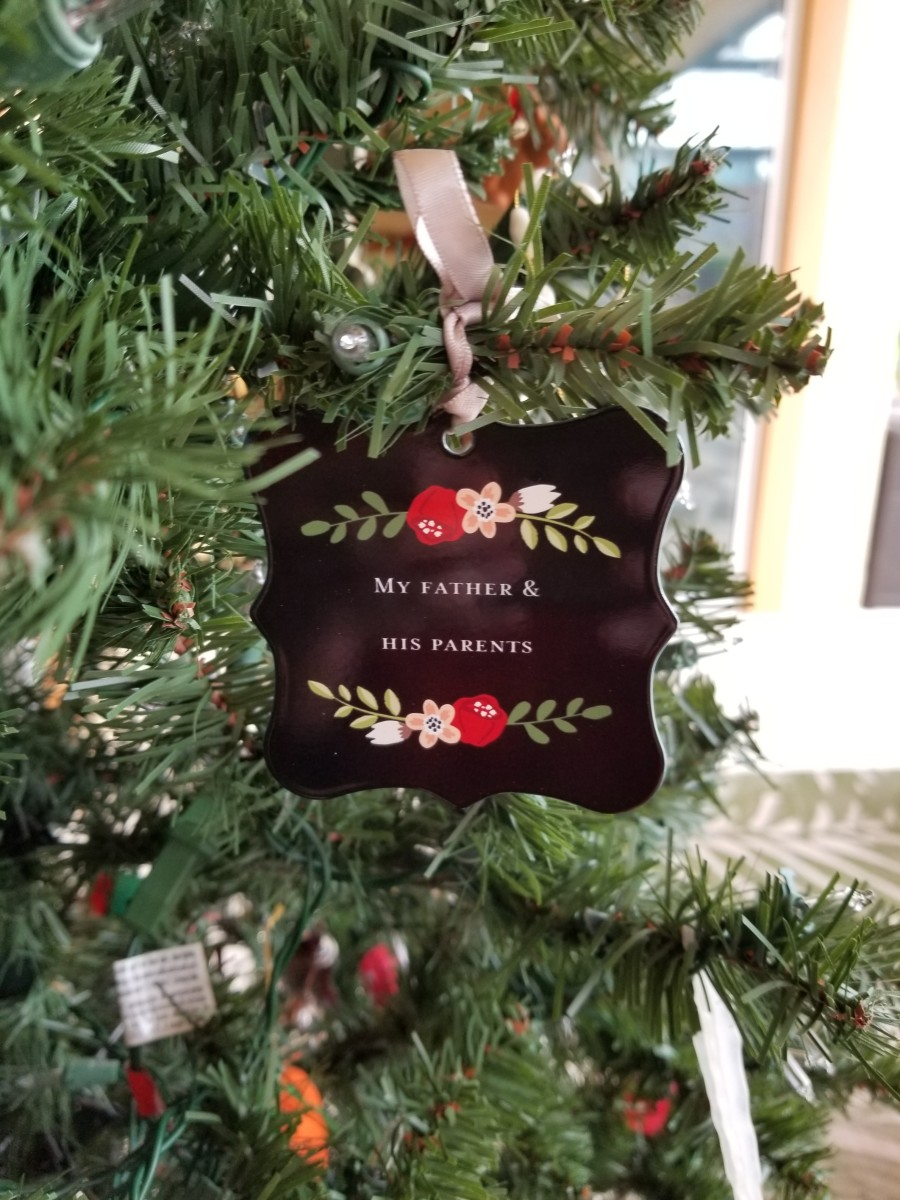 The reverse side of the ancestry ornament shown above