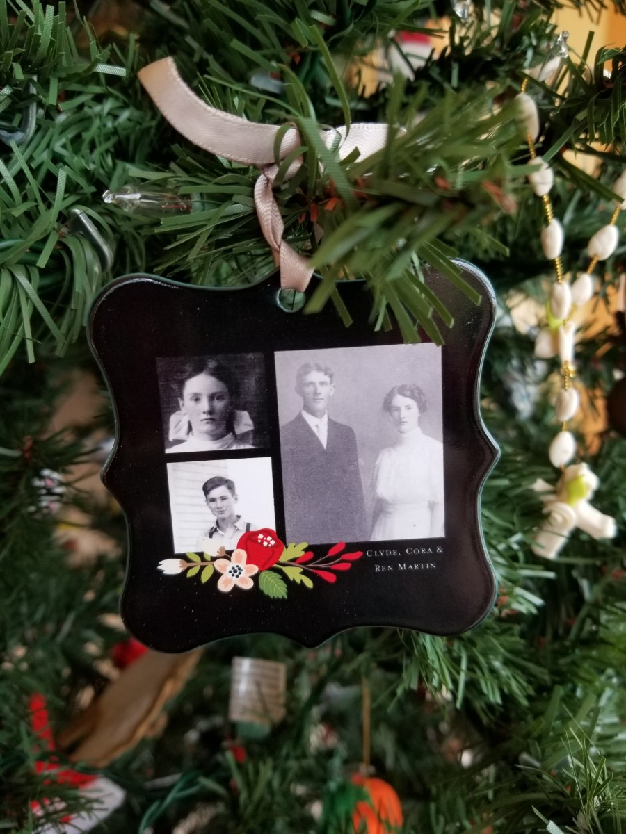 Why not feature your ancestors on an ornament? This ornament, made using Shutterfly, has a collage of my father and his parents.