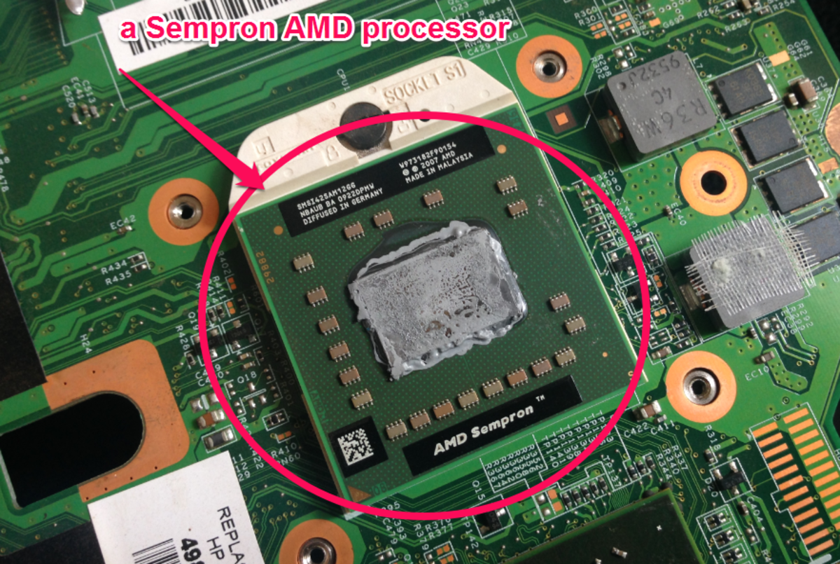 The AMD CPU is an example of a microprocessor and, as shown above, is attached to a motherboard.