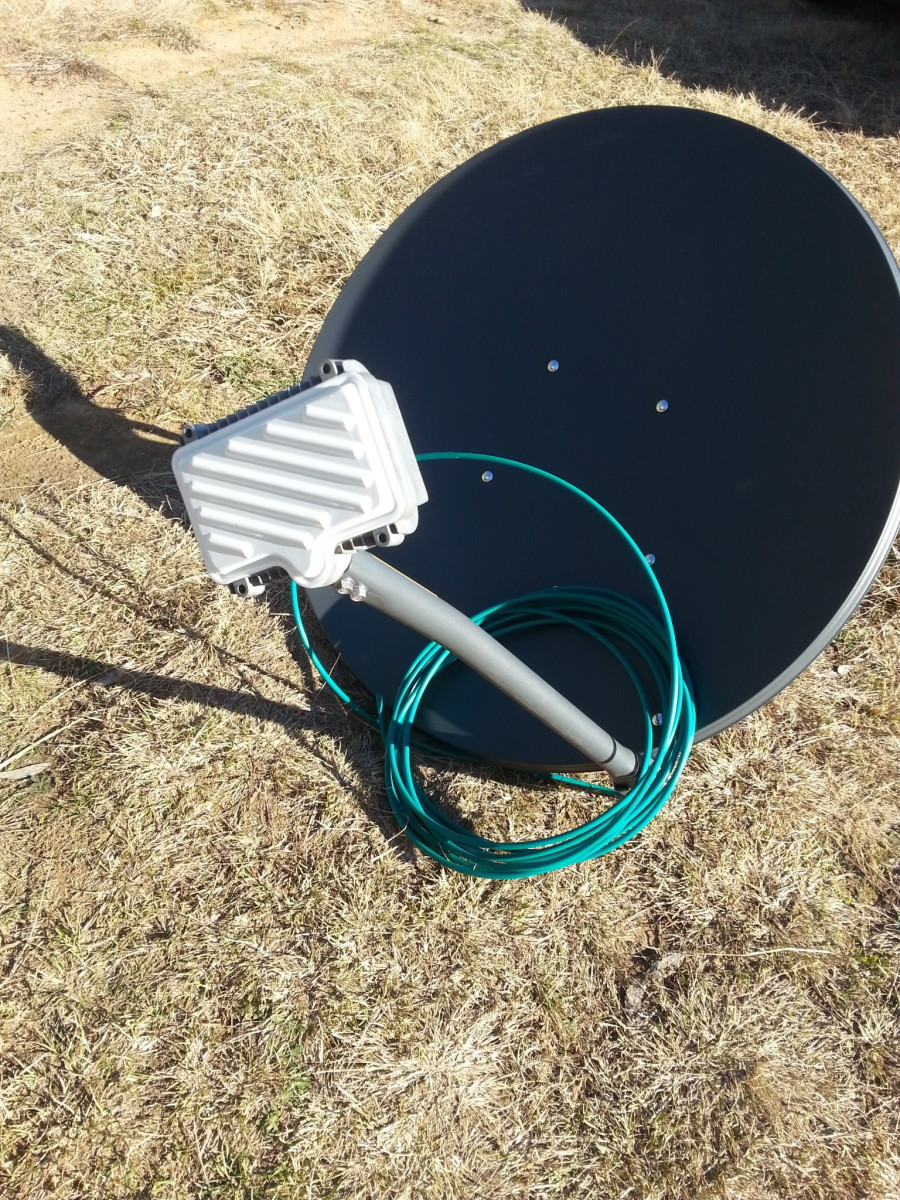 New satellite dish ready for connection to NBN Sky Muster satellite.