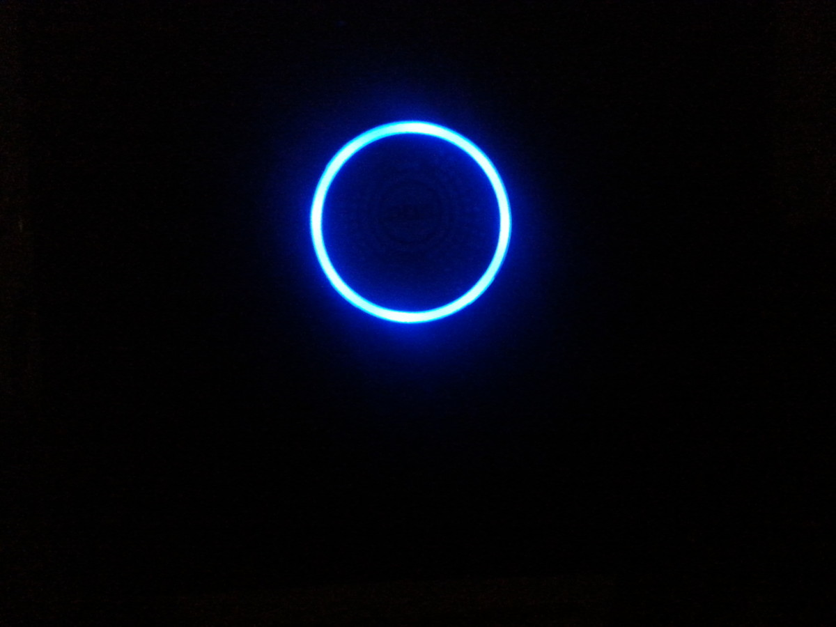 The bright blue circle indicates NBN's Sky Muster Satellite is connected, and internet is available. Easy to see in daytime, and you can't ignore it at night! (No danger of me forgetting to turn it off when not wanted.)