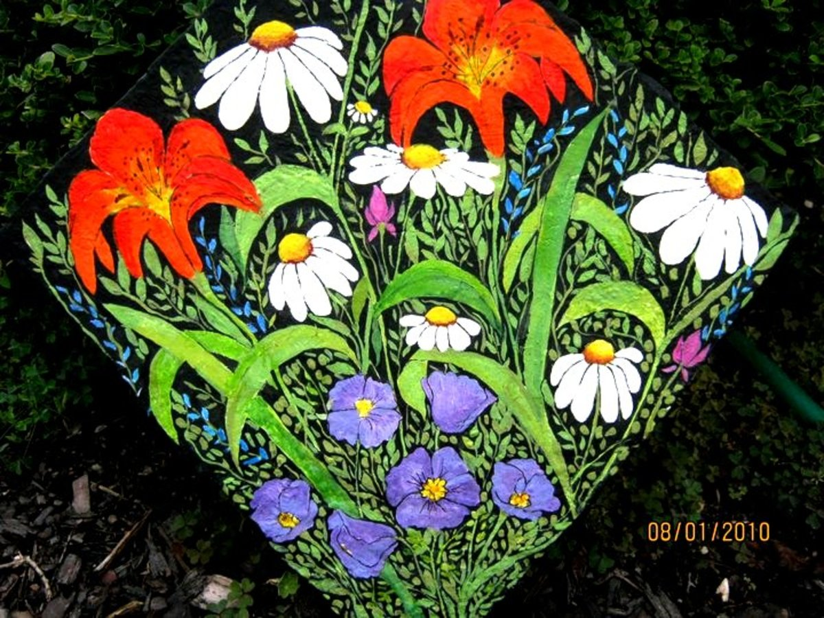 Tiger Lillies and Daisies Hand-Painted Rock