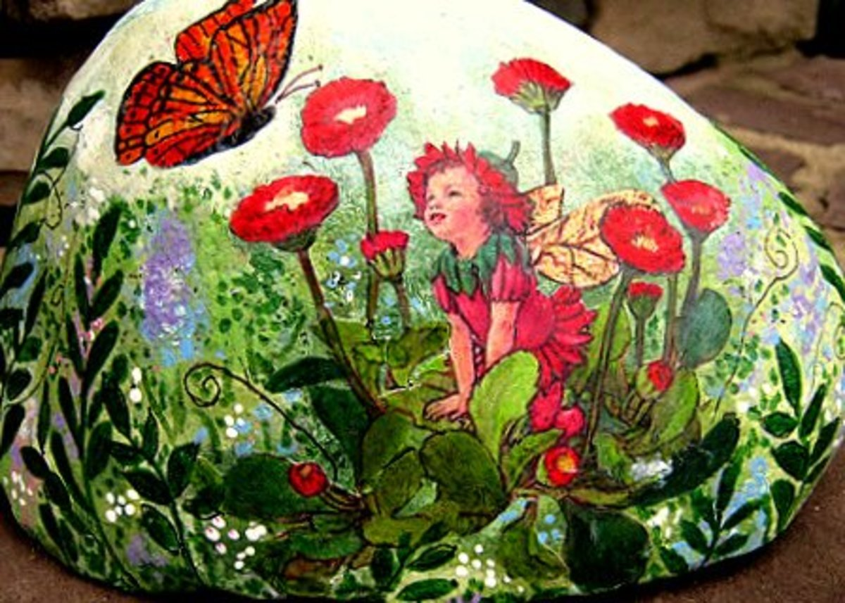 Hand Painted Poppy Flower Fairy Rock