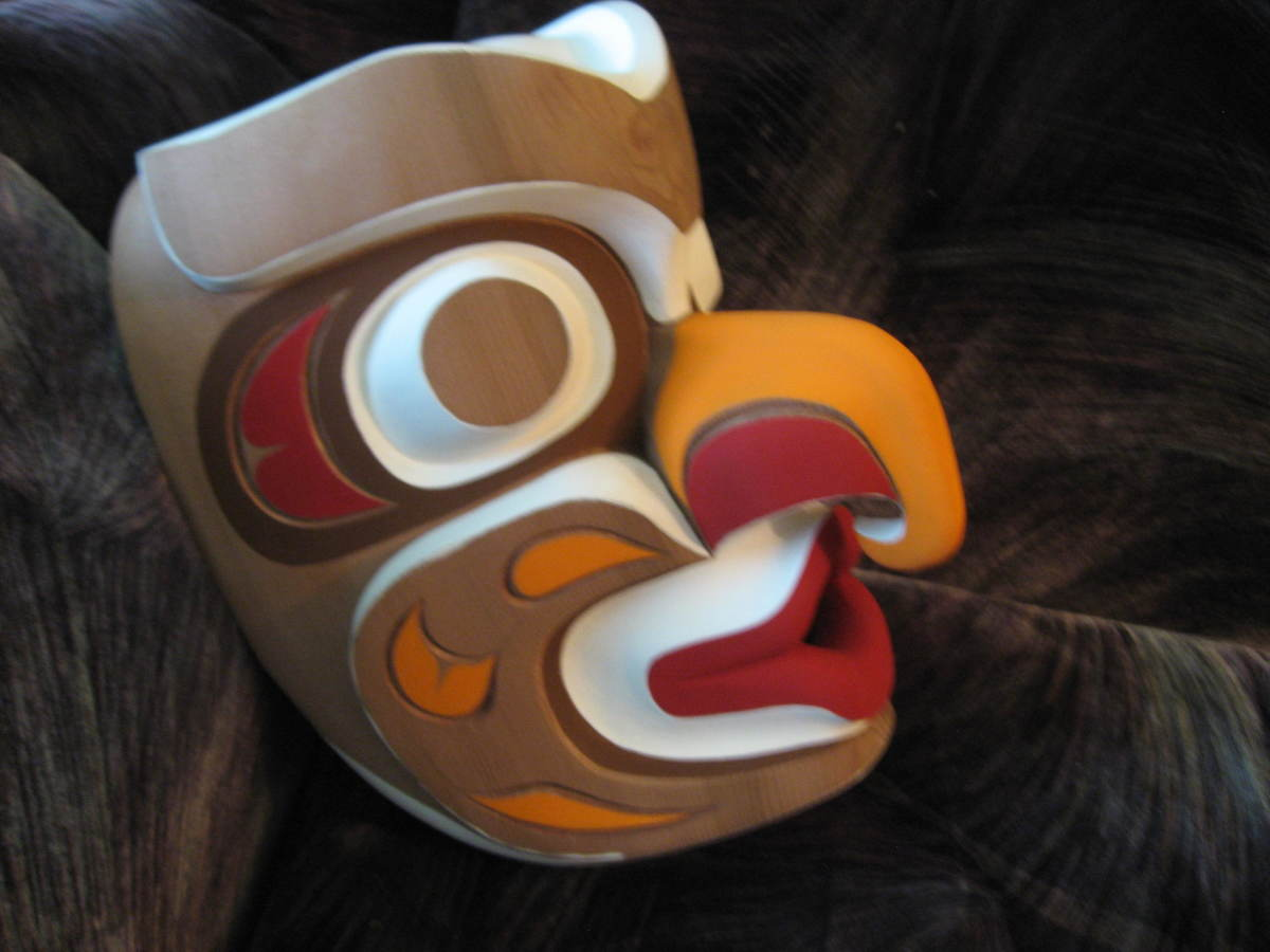 One of Rupert Scow's unfinished bird masks which he was painting while teaching our carving course.