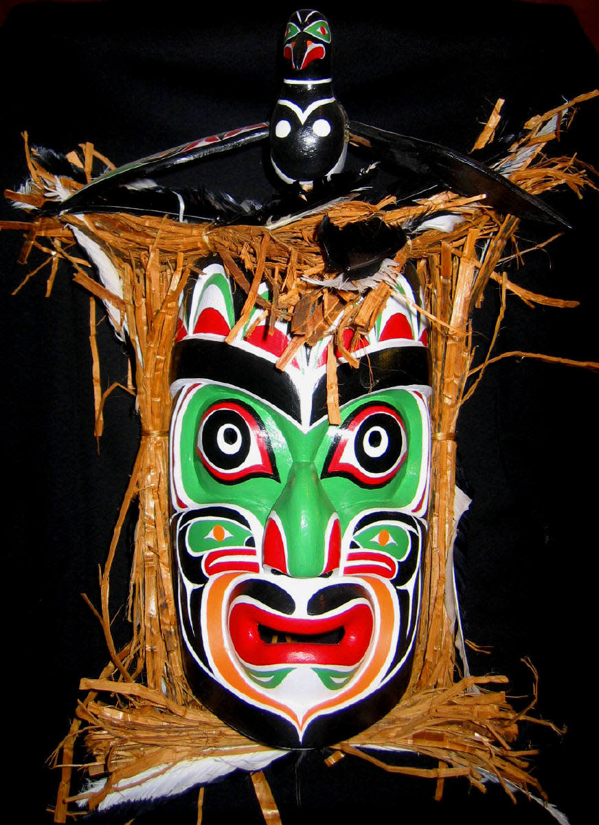 Brightly painted  Kwakwawka'wakw mask by Rupert Scow