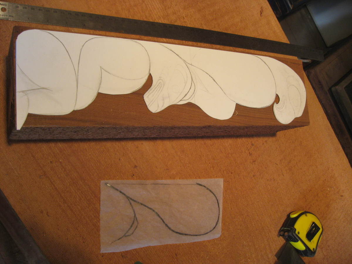 Laying out the template on the cedar