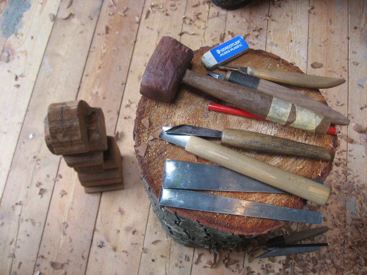 Some of my knives gouges and mallet used in this course.