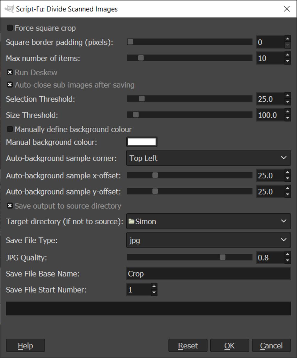 GIMP Divide Scanned Images Interface