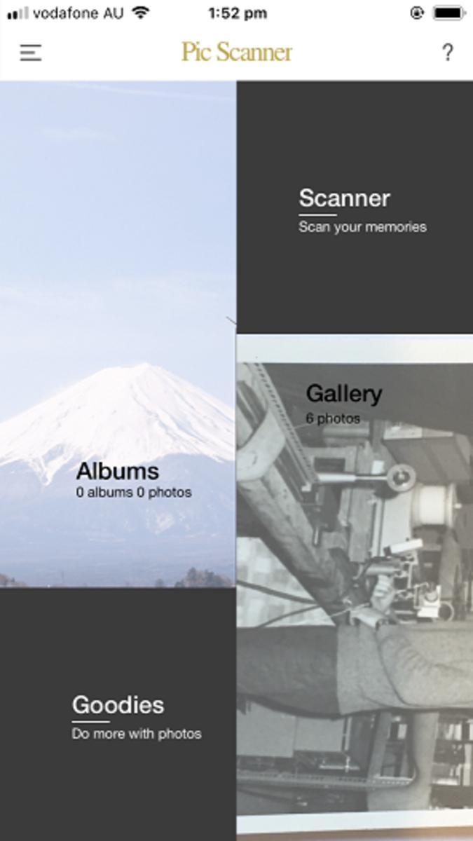 PicScanner Gold start screen