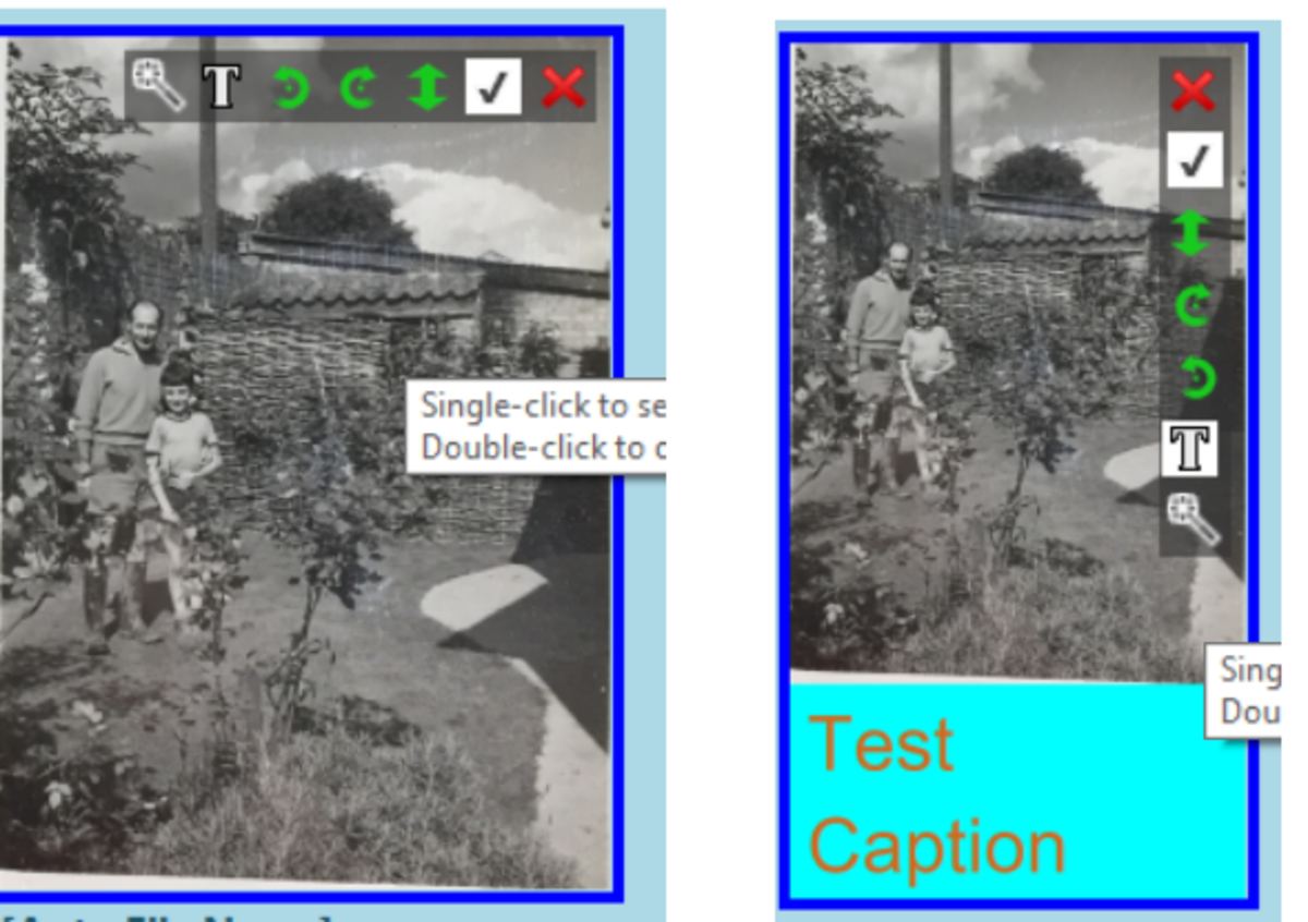 Captioning of extracted photos