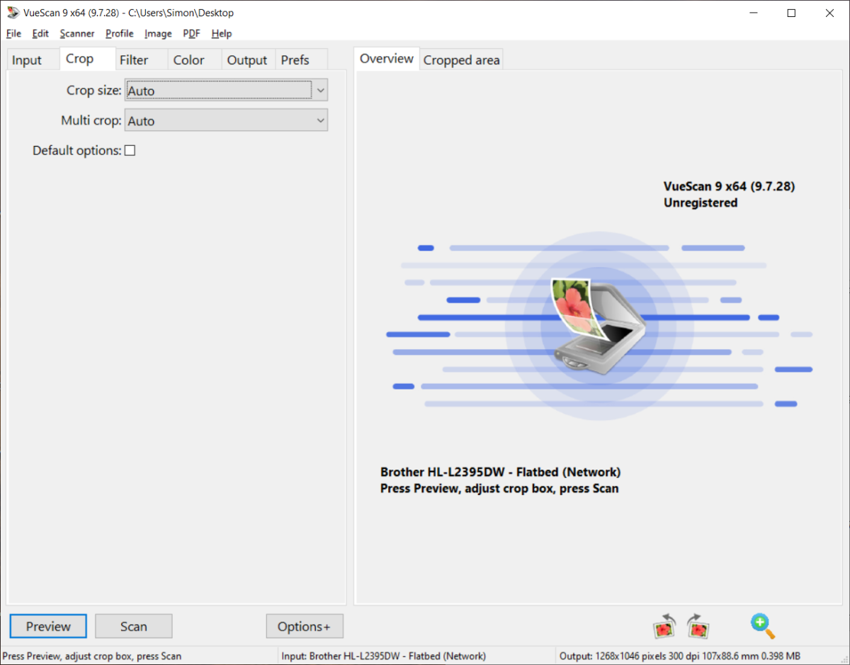VueScan Start Screen
