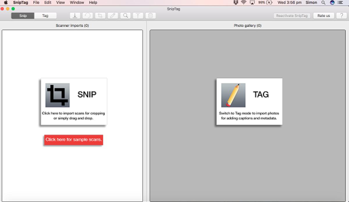 SnipTag start screen