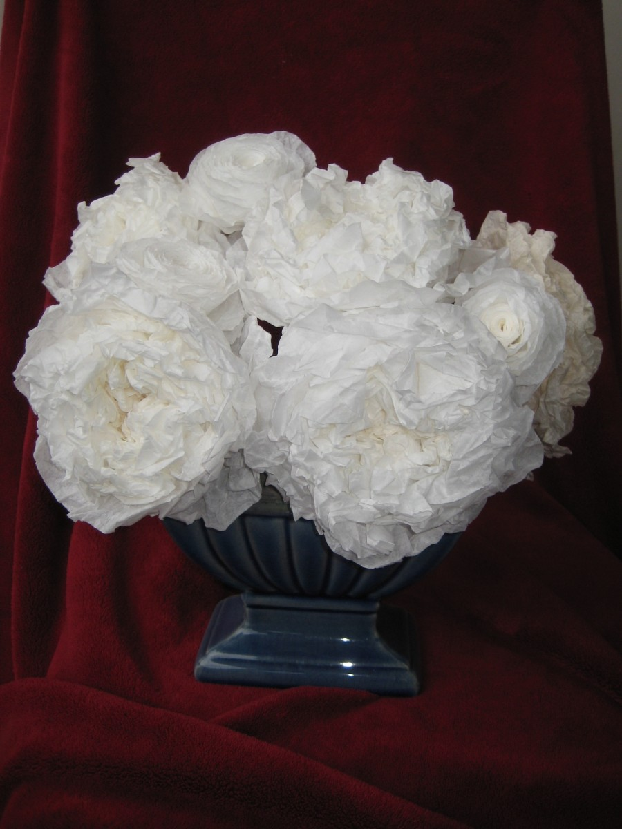 Arrangement of Large Coffee Filter Tea Roses, White