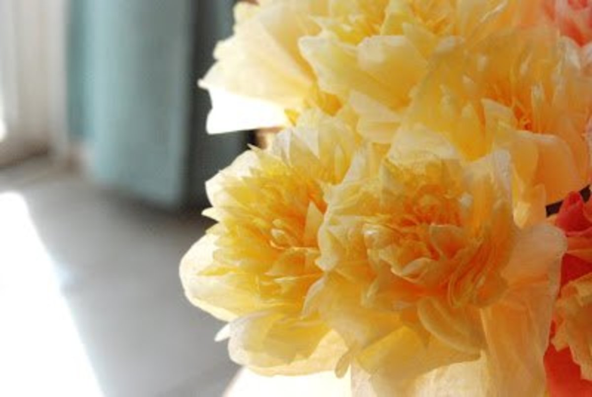 Coffee Filter Flowers - Yellow and White Peonies